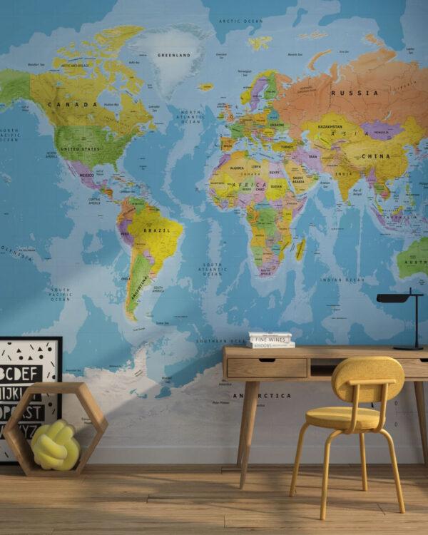 Fototapety Bright Traveller | 3d tapeta mapa Å›wiata