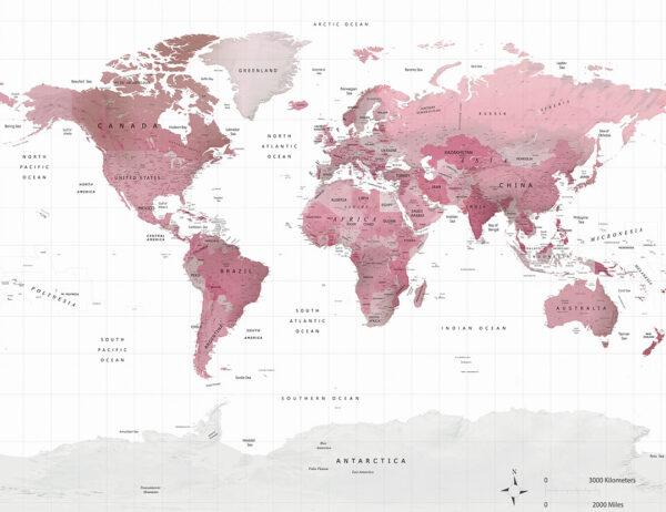Fototapety Pink Traveller białe tło i różowa mapa świata | 3d tapeta