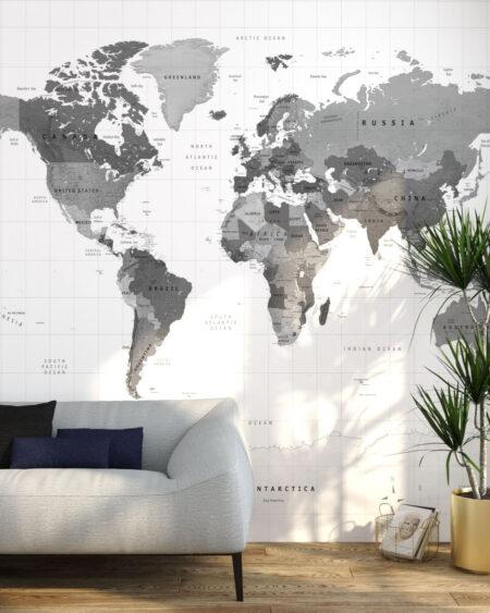 Fototapeta 3d Grey Earth | fototapety mapa świata
