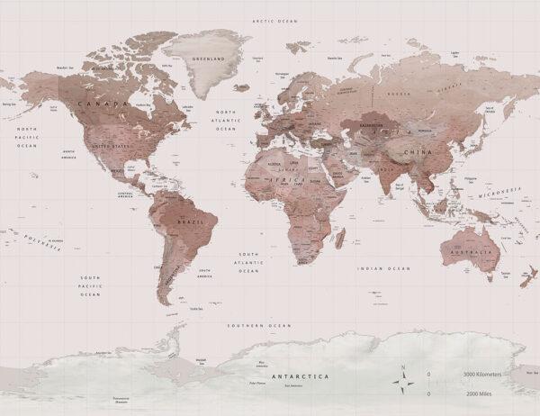 Fototapety Caramel Map odcienie skóry w siatce | tapeta mapa świata