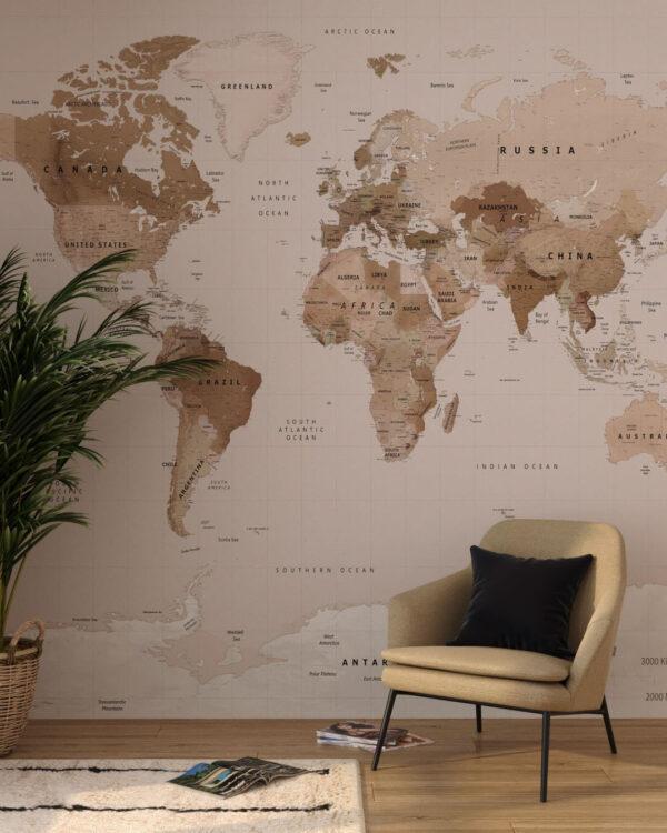 Fototapety Caramel Map | tapeta mapa świata