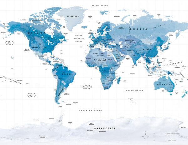 Fototapety Blue World niebieski świat i białe tło siatki | fototapeta mapa świata