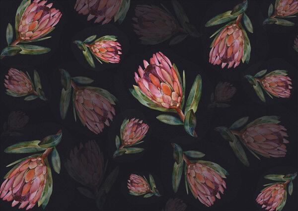 Fototapety Campo Romanza Czarne tło | fototapeta kwiaty