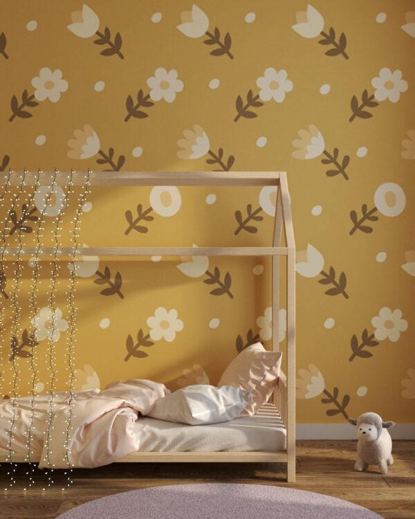 Fototapety Shapes Yellow flowers | tapeta dla dzieci 3d