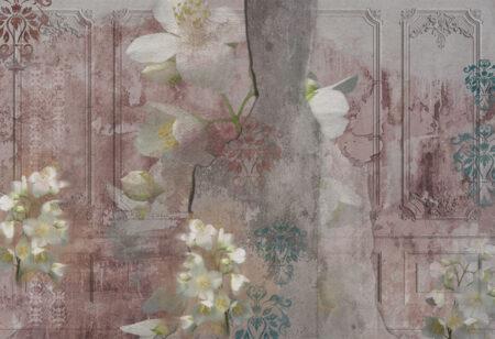 Fototapety Venice Pink stara ściana ścienna | fototapeta kwiaty
