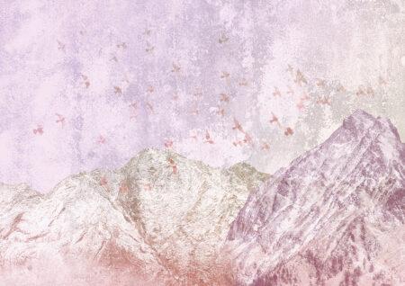 Fototapeta góry Freedom Mountains liliowy odcień | tapeta góry we mgle