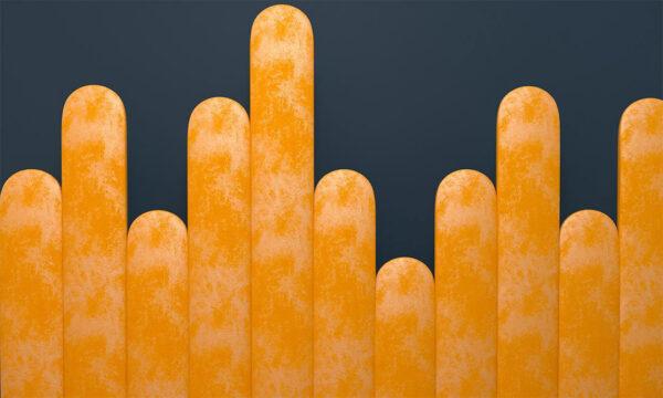 Fototapety Equalizer żółty Crankle niebieskie tło | tapety 3d do sypialni