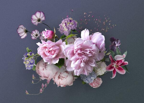 Fototapety Silkeborg ciemnoniebieskie odcienie   tapeta 3d kwiaty