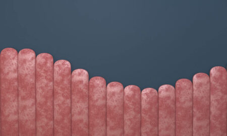 Fototapety Equalizer Pink Wave on Gray niebieskie tło | tapety 3d