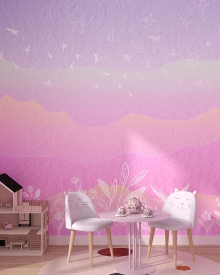 Fototapety Autumn Pink Mountains | tapety do pokoju dziewczynki
