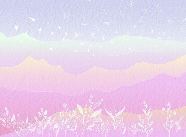 Fototapety Autumn Pink Mountains różowe odcienie | fototapeta do pokoju dziecka