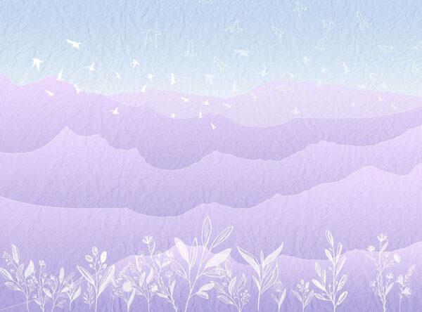 Fototapety Autumn Pink Mountains fioletowe odcienie | fototapeta do pokoju dziecka