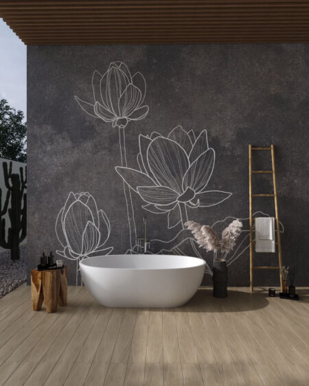 Fototapety Water Lilly Grey | fototapeta do łazienki