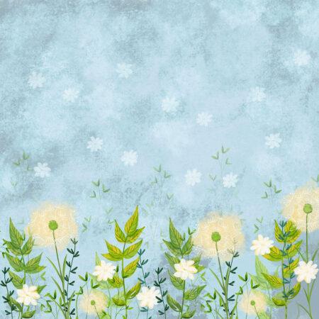 Fototapety Lot Balonem niebieskie odcienie | fototapeta kwiaty