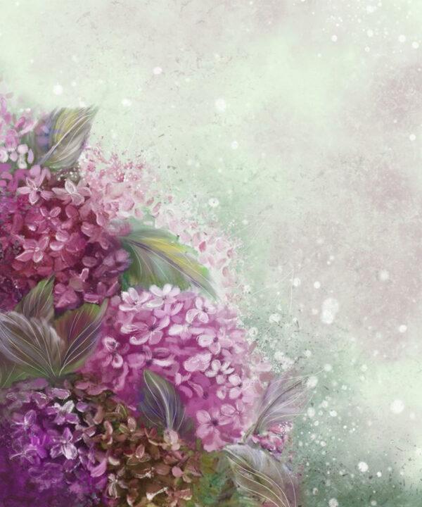 Fototapety Bloom Hydrangea zielone odcienie | tapety 3d do sypialni
