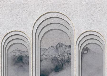 Fototapeta góry Glyph Mountains jasny odcień | fototapeta góry we mgle i tapety 3d