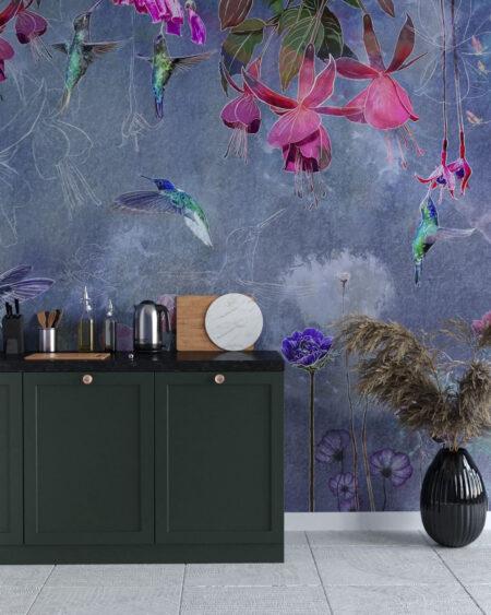 Fototapety Watercolor Hummingbird | tapeta w kuchni przy stole
