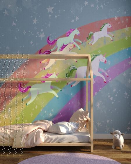 Fototapety Unicorns & Rainbow | fototapeta do pokoju dziecka