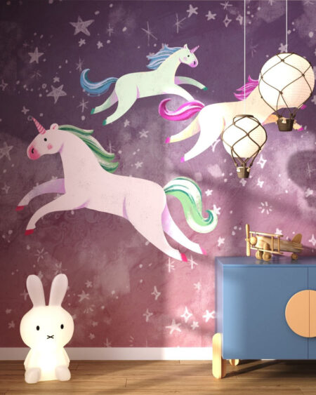 Fototapety Unicorns Pink | fototapeta do pokoju dziecka