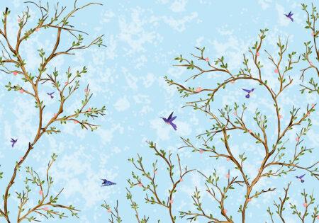 Fototapety Lot Ptaka niebieski przykład | fototapeta do łazienki