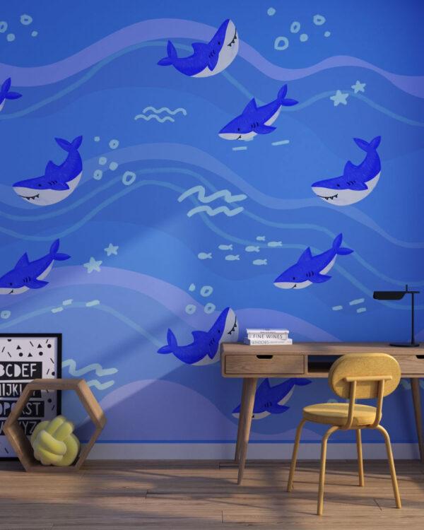 Fototapety Śmieszne Rekiny | fototapeta dziecięca