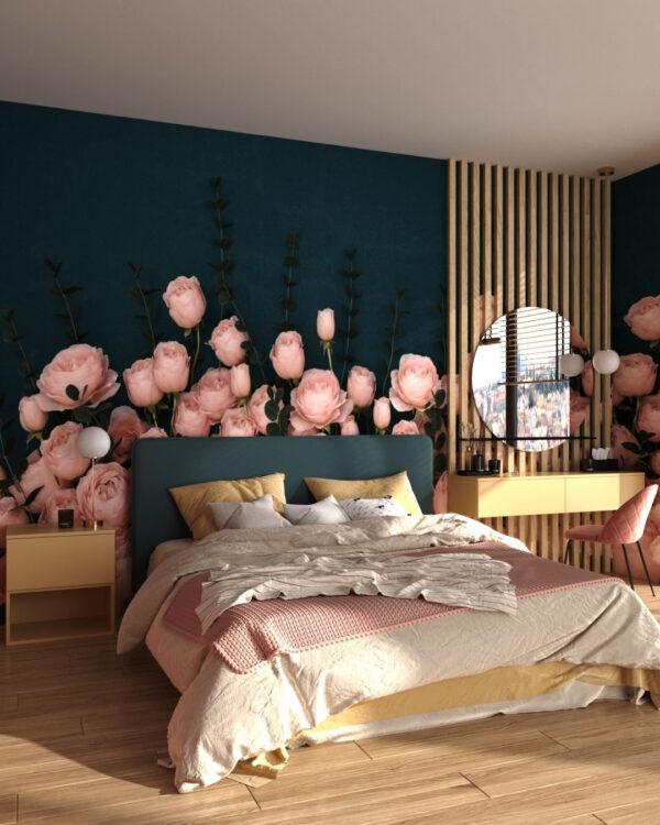 Fototapety 3D Rosa Inglesa Sapphirine | tapety 3d do sypialni