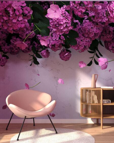 Fototapety 3D Ortensie Rose | tapety 3d do salonu