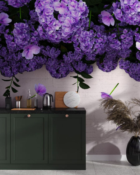 Fototapety 3D Ortensie | tapeta w kuchni przy stole