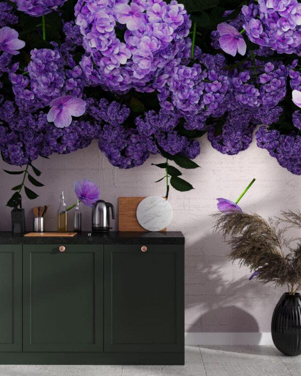Fototapety 3D Ortensie   tapeta w kuchni przy stole