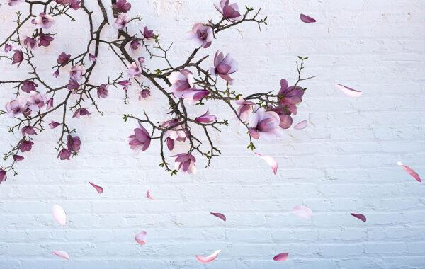 Fototapety Autunno Gold Pink biała cegła | fototapeta kwiaty