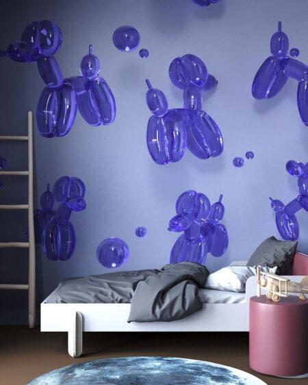 Fototapety Balloon Dogs Purple | tapeta do pokoju chłopca