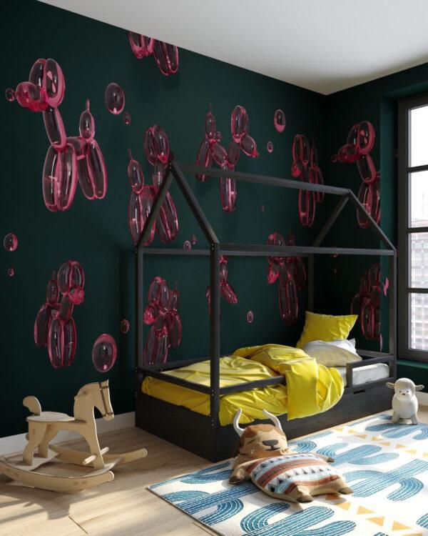 Fototapety Balloon Dogs Green | fototapeta do pokoju dziecka