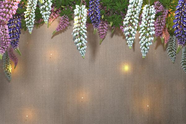 Fototapety Lupin Sunlight White Tree Bloom brązowy materiał | fototapeta 3d