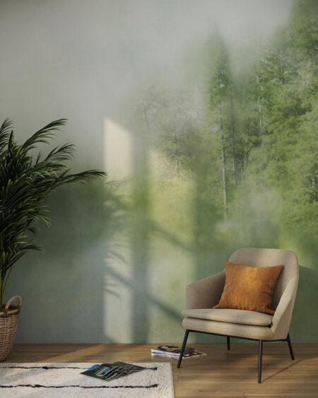 Fototapety Foggy Forest Cyan | tapety 3d do salonu