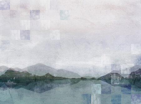 Fototapeta góry Textured Watercolor Nature z elementami mozaiki