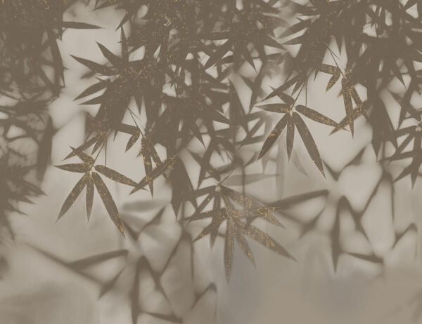 Fototapeta Liście Palmowe brązowe odcienie z pozłacanymi | fototapeta kwiaty