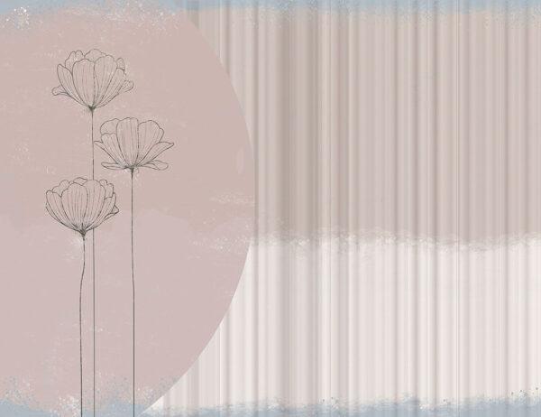Fototapeta Pastelowe Kwiaty tło w linii | fototapeta w kwiaty