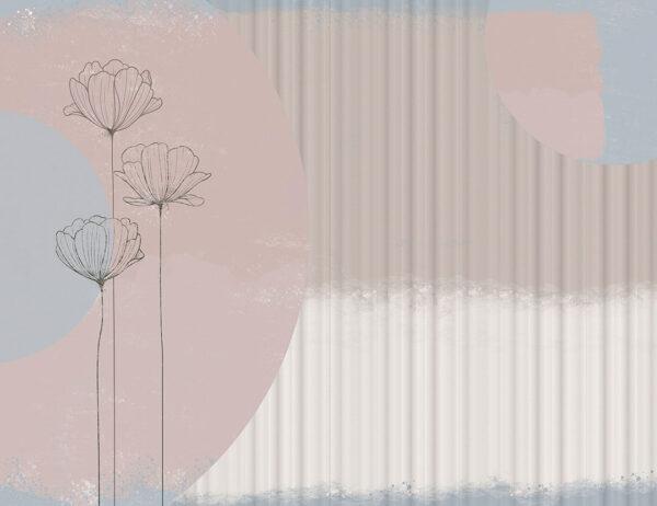 fototapeta kwiaty Bliss Blue częściowo falisty | tapety w kwiaty 3d