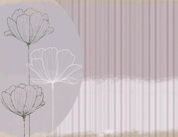 Fototapety Bliss Trio gładkie kwiaty | tapety 3d do sypialni