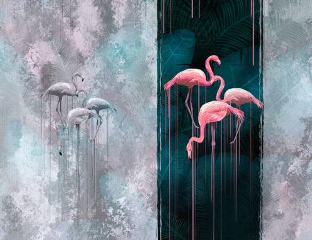 Fototapety Zwierzęta Contrast szare tło z flamingami