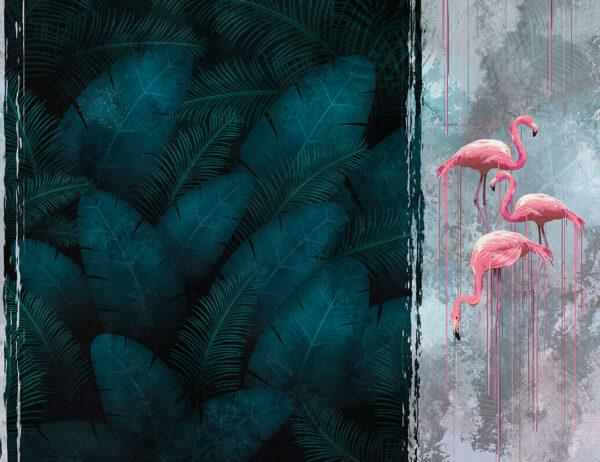 Fototapety Zwierzęta Contrast Dark przykład flaminga