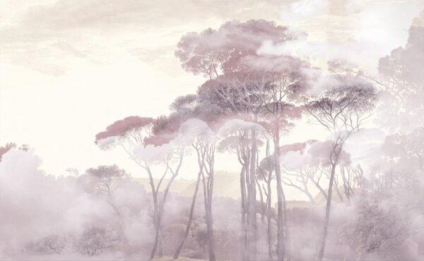 Fototapety Armonia of the Sunrise różowe odcienie | tapeta las