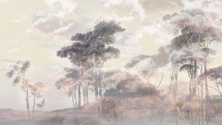 Fototapeta Zachód Słońca Las Armonia żółte odcienie | fototapeta las