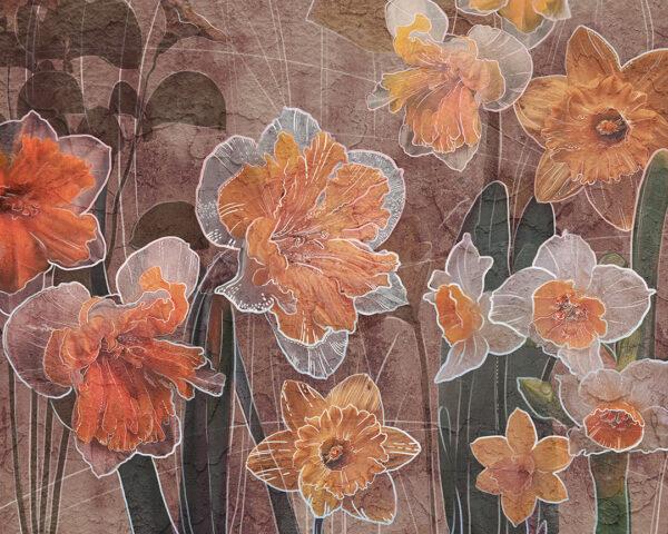 Fototapety Narcissus brązowy odcień | fototapeta kwiaty