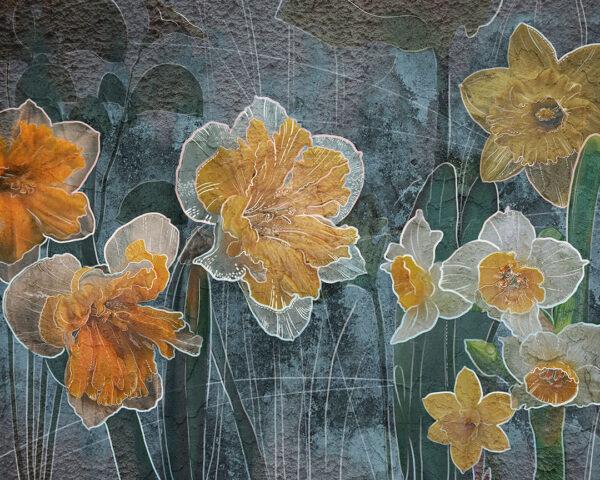 Fototapety Narcissus ciemnoniebieski odcień | fototapeta kwiaty