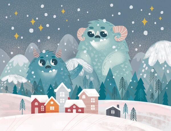 Fototapety Friendly Monsters niebieskie odcienie | tapety 3d do sypialni