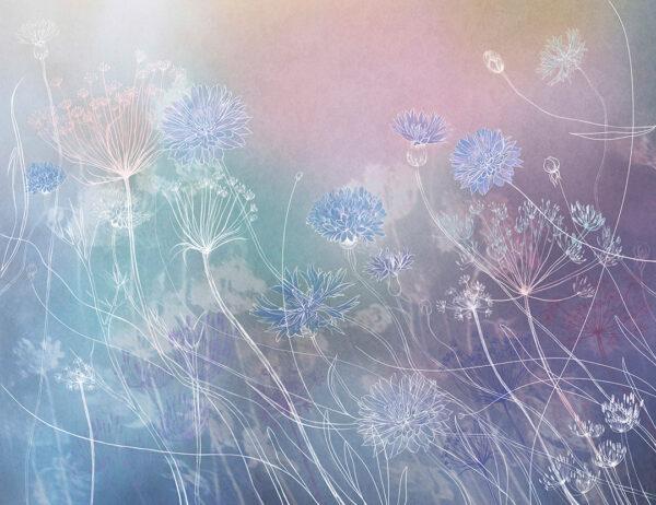 Fototapety Vento odcienie niebieskiego i fioletu | fototapeta kwiat