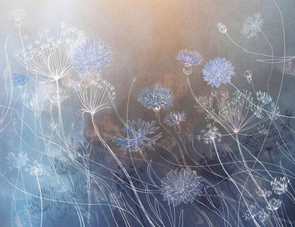 Fototapety Vento odcienie niebieskiego i brązowego | fototapeta kwiat