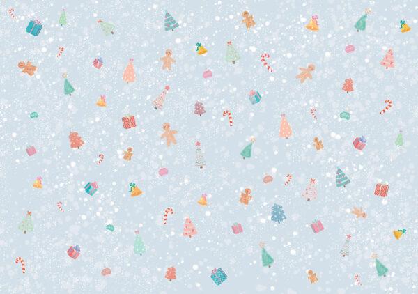 Fototapety Gingerbread Man niebieskie odcienie | fototapeta dla dzieci