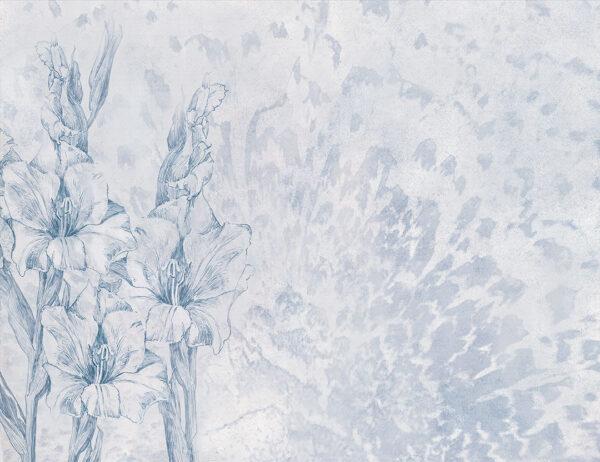 Fototapety Gladiole szaro-niebieskie odcienie | fototapeta kwiaty